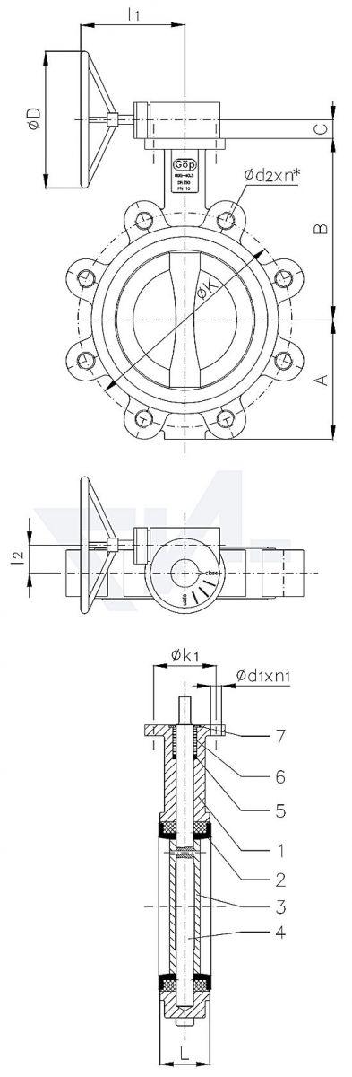"Затвор для установки ""на фланец"", GGG 40.3/Al-Bronze тип 50.63.03"