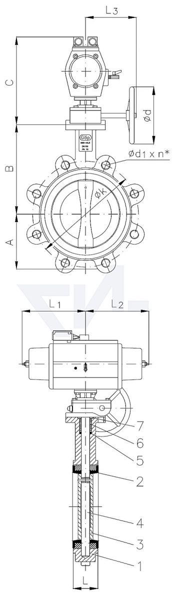 """Затвор дисковый безфланцевый """"Lug"""", GGG 40.3/Al-Bronze пневматический привод одностороннего действия, с закрытием пружиной с аварийным управлением и 2 концевыми выключателями тип 50.63.05"""