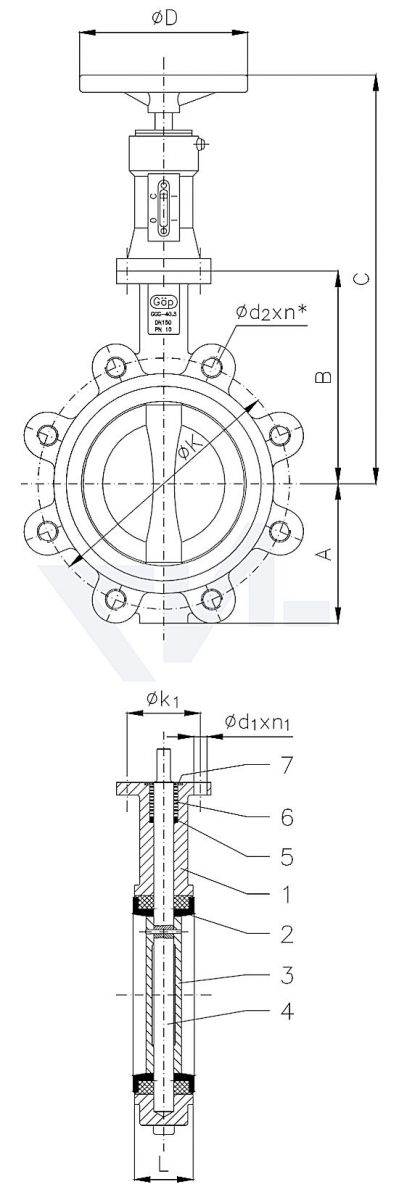 "Затвор для установки ""на фланец"", GGG 40.3/Al-Bronze тип 50.63.06"