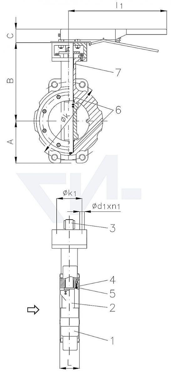 """Затвор дисковый безфланцевый высокоеффективный """"Wafer"""" для установки между фланцами, GS-C25/нерж. сталь тип 50.64.02"""