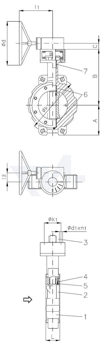 """Затвор дисковый безфланцевый высокоеффективный """"Wafer"""" для установки между фланцами, GS-C25/нерж. сталь тип 50.64.03"""