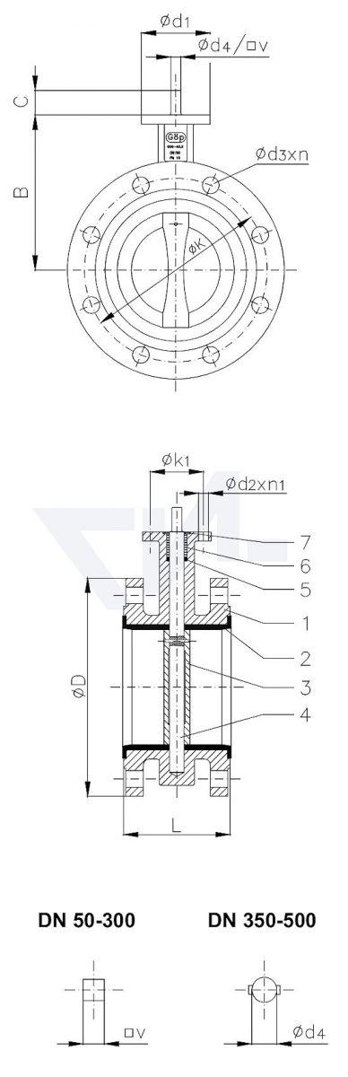Затвор дисковый двухфланцевый, GGG 40.3/Al-Bronze, вулканизированное уплотнение корпуса, свободный конец вала PN16 тип 50.70.01