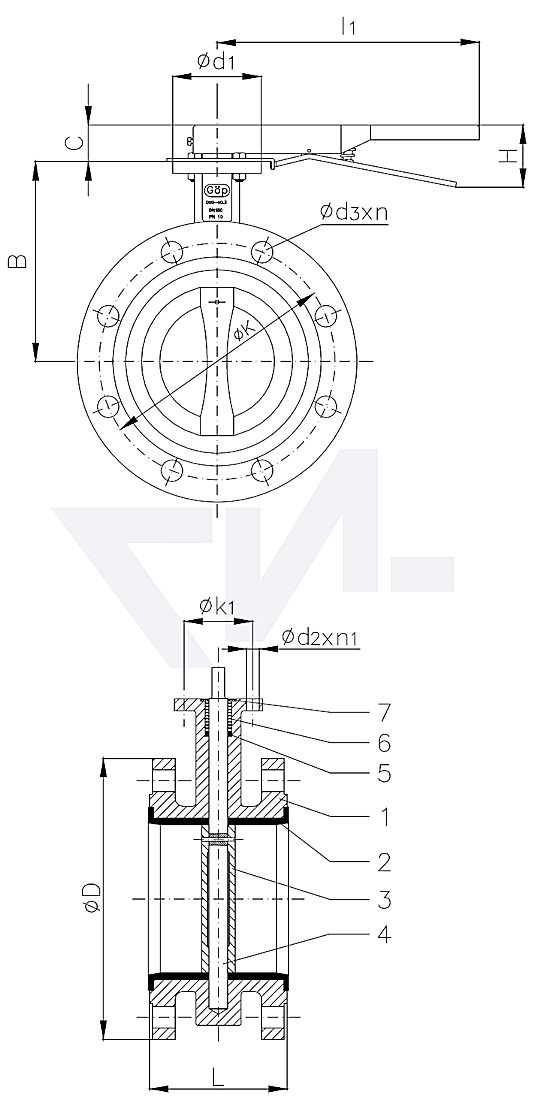 Затвор дисковый двухфланцевый, GG 25/нерж. сталь PN16 тип 50.70.02