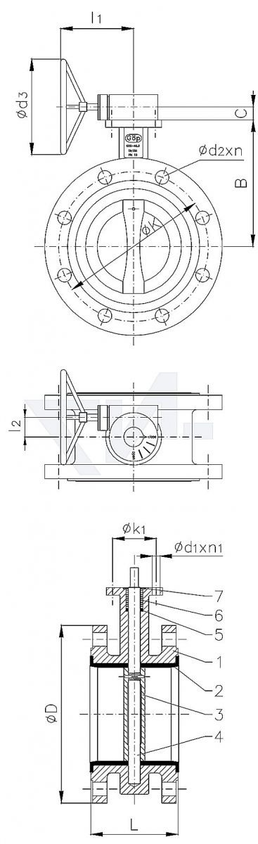 Затвор дисковый двухфланцевый, GG 25/нерж. сталь тип 50.70.03