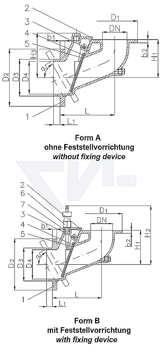 Захлопка штормовая Typ DIN-HNA, GS-C25, самозапорная тип 50.80.11 / 50.80.12