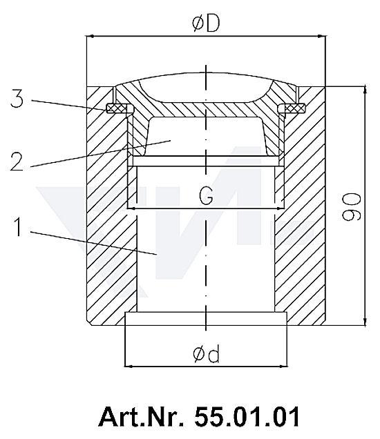Пробка палубная мерной трубы DIN 86111 под сварку, Stahl/Rg 5 тип 55.01.01 / 55.01.02