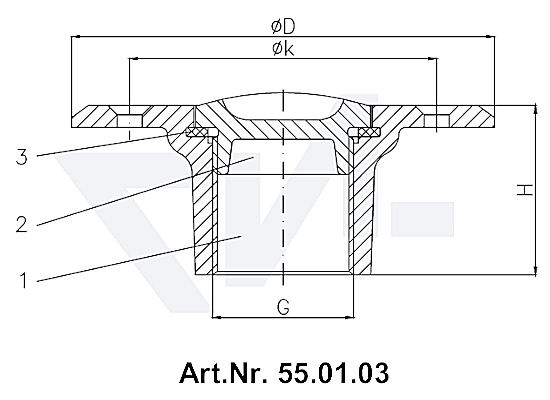 Пробка палубная мерной трубы DIN 86112 и 86113 с резьбовой крышкой, Rg 5 тип 55.01.03 / 55.01.04