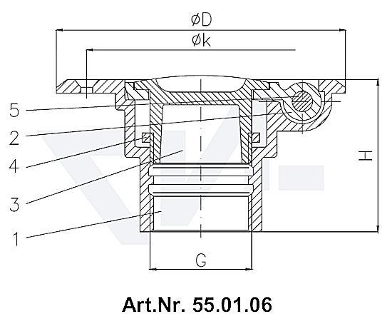 Пробка палубная мерной трубы с крышкой-захлопкой DIN 86114 и 86115, Rg 5 тип 55.01.05 / 55.01.06