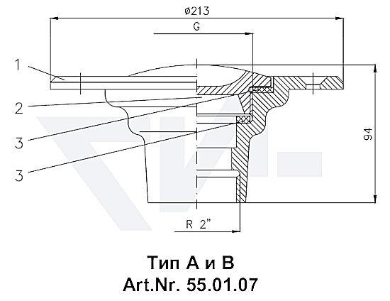 Пробка палубная мерной трубы VG 85291, Rg 5 для мерительных, сливных и впускных трубопроводов тип 55.01.07 / 55.01.08