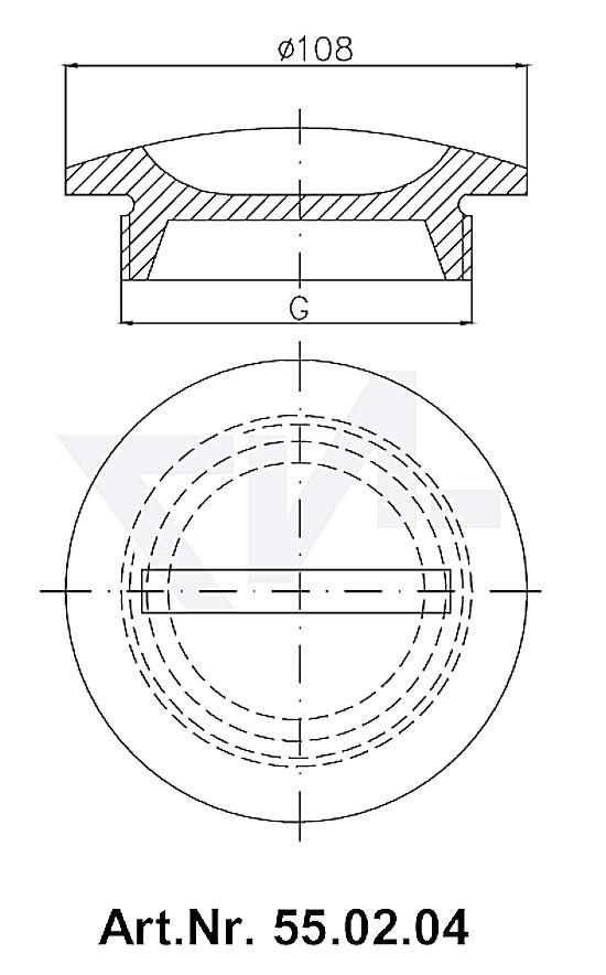 Пробка палубная мерной трубы VG 85291, Rg 5 для мерительных, сливных и впускных трубопроводов тип 55.01.07 / 55.02.04