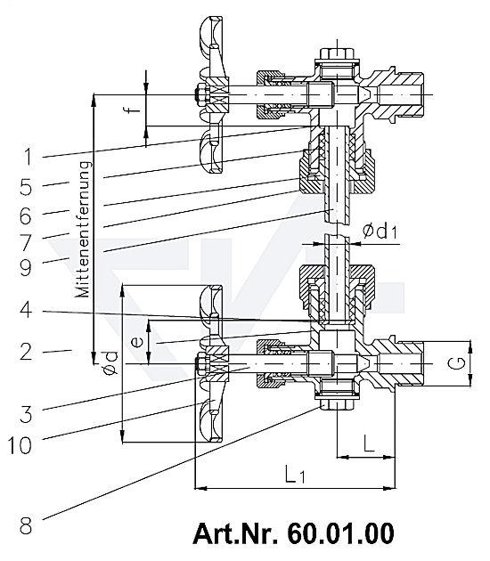 Арматура указателя уровня жидкости с резьбовым крепежом, Rg 5
