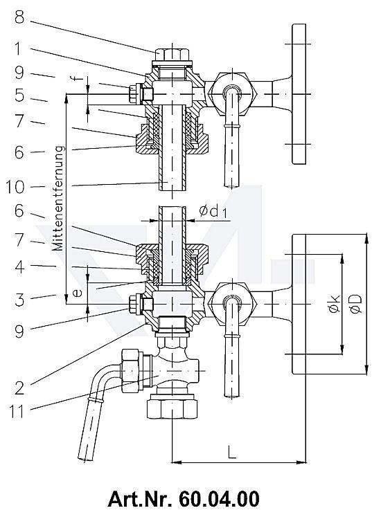 Арматура указателя уровня жидкости с фланцевым крепежом, Rg 5 с запирающимся краном, с уплотнением трубки, с пробивной пробкой тип 60.04.00 / 60.04.01 / 60.04.05 / 60.04.06 / 60.04.07