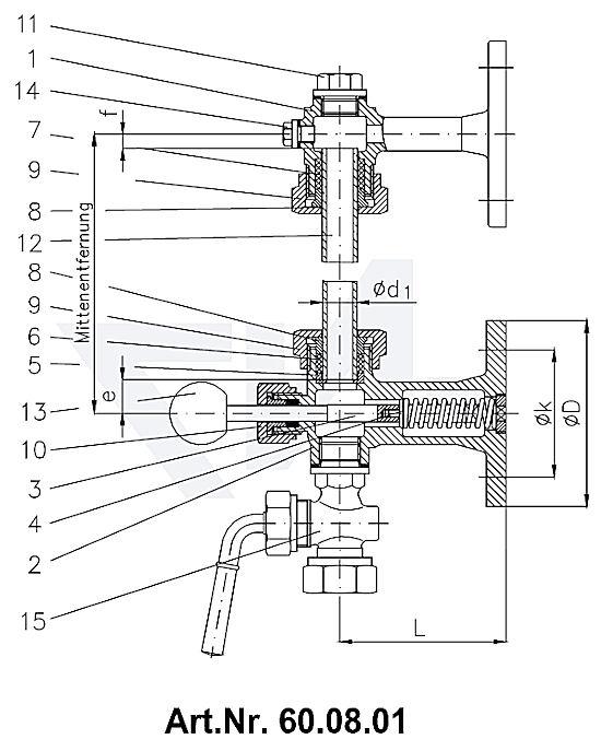 Арматура указателя уровня жидкости самозапорная с фланцевым крепежом, Rg 5 с нажимной кнопкой тип 60.08.00 / 60.08.01 / 60.08.05 / 60.08.06 / 60.08.07