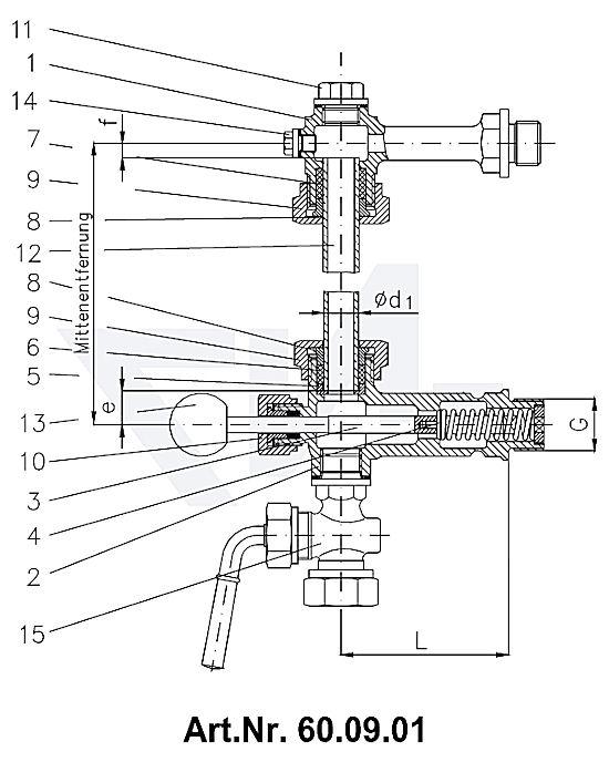 Арматура указателя уровня жидкости самозапорная, с резьбовым крепежом, Rg 5 с нажимной кнопкой тип 60.09.00 / 60.09.01 / 60.09.05 / 60.09.06 / 60.09.07