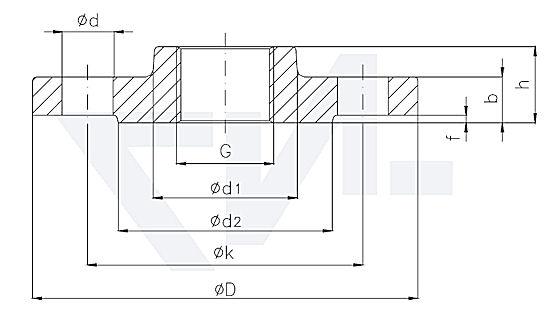 Фланец резьбовой с выступом DIN 2566 PN16 тип 82.05.04