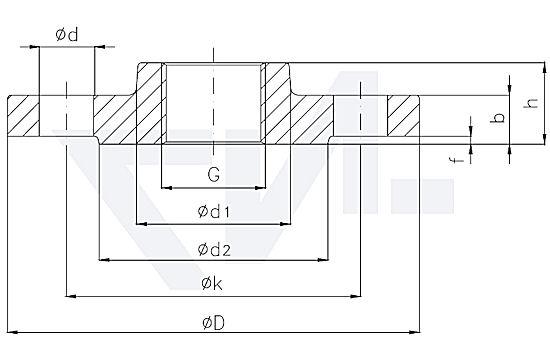 Фланец резьбовой с выступом DIN 2567 тип 82.05.05