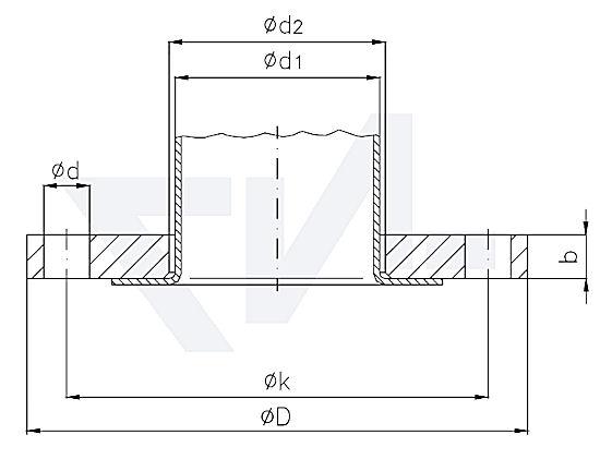 фланцы свободные для труб с приподнятыми краями DIN 2642 тип F PN10 тип 82.08.02